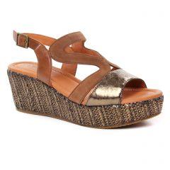 Chaussures femme été 2019 - nu-pieds compensés Mamzelle marron doré