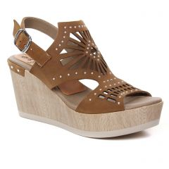 nu-pieds-talons-compenses marron: même style de chaussures en ligne pour femmes que les Tamaris