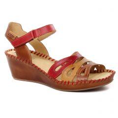 nu-pieds-talons-compenses marron: même style de chaussures en ligne pour femmes que les Pikolinos