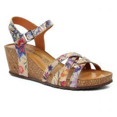 nu-pieds-talons-compenses multicolore: même style de chaussures en ligne pour femmes que les Tamaris