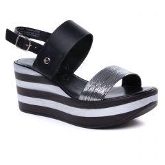 Tamaris 28334 Black Pewter : chaussures dans la même tendance femme (nu-pieds-talons-compenses noir argent) et disponibles à la vente en ligne
