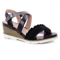 Mamzelle Hadol Noir : chaussures dans la même tendance femme (nu-pieds-talons-compenses noir argent) et disponibles à la vente en ligne