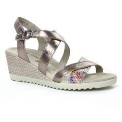 nu-pieds-talons-compenses or doré: même style de chaussures en ligne pour femmes que les Remonte