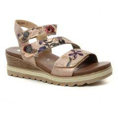 Chaussures femme été 2019 - nu-pieds compensés Remonte rose multi