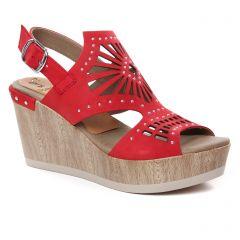 nu-pieds-talons-compenses rouge bordeaux: même style de chaussures en ligne pour femmes que les Dorking