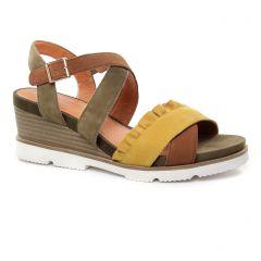 Mamzelle Hadol Kaki : chaussures dans la même tendance femme (nu-pieds-talons-compenses vert kaki jaune) et disponibles à la vente en ligne