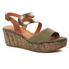 ef83d90487d592 Chaussures femme été 2019 - nu-pieds compensés Mamzelle vert kaki doré
