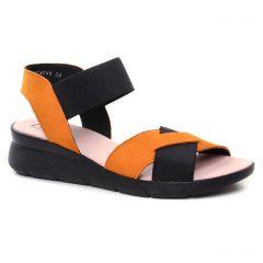 Chaussures femme été 2019 - nu-pieds compensés Hirica noir orange