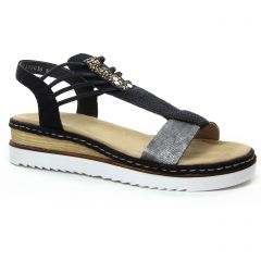 nu-pieds-talons-compenses noir argent: même style de chaussures en ligne pour femmes que les Rieker