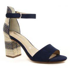 nu-pieds-talon bleu marine: même style de chaussures en ligne pour femmes que les Tamaris