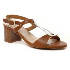 Chaussures femme été 2019 - nu-pieds talon Maria Jaén marron blanc