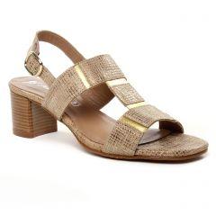 Chaussures femme été 2019 - nu-pieds talon Maria Jaén marron doré