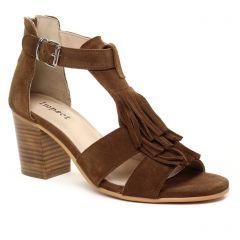 nu-pieds-talon marron: même style de chaussures en ligne pour femmes que les Rieker