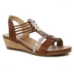 Chaussures femme été 2019 - nu-pieds compensés Remonte marron