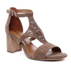 nu-pieds-talon marron: même style de chaussures en ligne pour femmes que les Tamaris