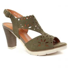 Chaussures femme été 2019 - nu-pieds talon Mamzelle vert kaki