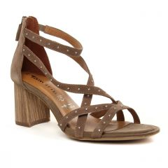 nu-pieds-talons-hauts beige marron: même style de chaussures en ligne pour femmes que les Impact