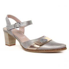 nu-pieds-talons-hauts gris doré: même style de chaussures en ligne pour femmes que les Tamaris