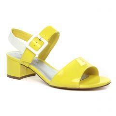 nu-pieds-talons-hauts jaune blanc: même style de chaussures en ligne pour femmes que les Marco Tozzi