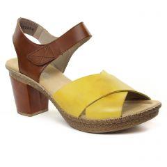 022bcd7783f999 Chaussures femme été 2019 - nu-pieds talons hauts rieker jaune marron