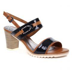 nu-pieds-talons-hauts marron bleu: même style de chaussures en ligne pour femmes que les Tamaris