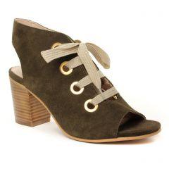 Chaussures femme été 2019 - nu-pieds talons hauts Impact vert kaki