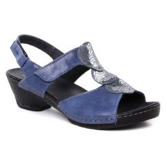 Chaussures femme été 2019 - nu-pieds trotteurs Suave bleu argent