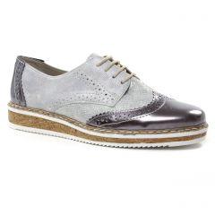 Chaussures femme été 2019 - derbys rieker gris blanc