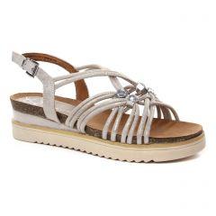 sandales-compensees beige doré: même style de chaussures en ligne pour femmes que les Scarlatine