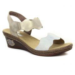 Rieker V2402-80 Ice Muschel : chaussures dans la même tendance femme (nu-pieds-talons-compenses beige) et disponibles à la vente en ligne