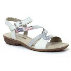 Chaussures femme été 2019 - sandales Remonte blanc argent
