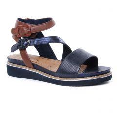 nu-pieds-talons-compenses bleu marron: même style de chaussures en ligne pour femmes que les Tamaris