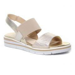 sandales-compensees beige doré: même style de chaussures en ligne pour femmes que les Caprice