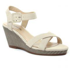 Jb Martin Querida Sable : chaussures dans la même tendance femme (nu-pieds-talons-compenses beige) et disponibles à la vente en ligne