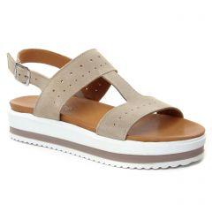 sandales-compensees beige: même style de chaussures en ligne pour femmes que les Scarlatine