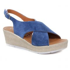 sandales-compensees bleu: même style de chaussures en ligne pour femmes que les Marco Tozzi