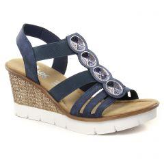 nu-pieds-talons-compenses bleu: même style de chaussures en ligne pour femmes que les Tamaris