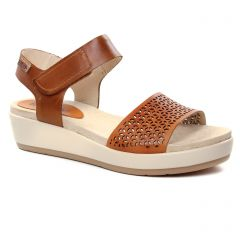 Chaussures femme été 2019 - sandales compensées Pikolinos marron orange