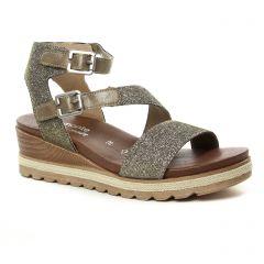 nu-pieds-talons-compenses marron doré: même style de chaussures en ligne pour femmes que les Remonte