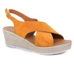 sandales-compensees marron orangé: même style de chaussures en ligne pour femmes que les Marco Tozzi
