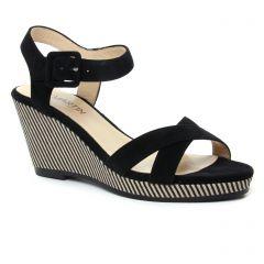 nu-pieds-talons-compenses noir beige: même style de chaussures en ligne pour femmes que les Jb Martin