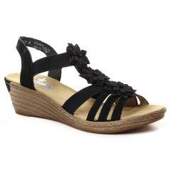 nu-pieds-talons-compenses noir: même style de chaussures en ligne pour femmes que les Rieker