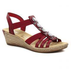 Chaussures femme été 2019 - nu-pieds compensés rieker rouge bordeaux