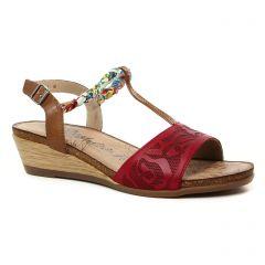 Chaussures femme été 2019 - sandales compensées Remonte rouge marron