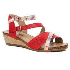 Chaussures femme été 2019 - nu-pieds compensés Remonte rouge multi