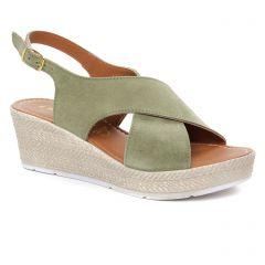sandales-compensees vert kaki: même style de chaussures en ligne pour femmes que les Marco Tozzi
