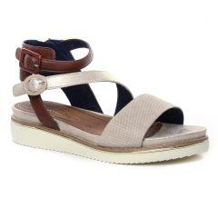 nu-pieds-talons-compenses marron beige: même style de chaussures en ligne pour femmes que les Tamaris