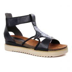 Chaussures femme été 2019 - sandales compensées marco tozzi noir