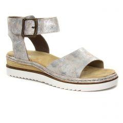 a54d9cabe662 Chaussures femme été 2019 - nu-pieds compensés rieker rose argent. Nouvelle  Collection