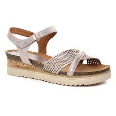 nu-pieds-talons-compenses rose doré: même style de chaussures en ligne pour femmes que les Tamaris